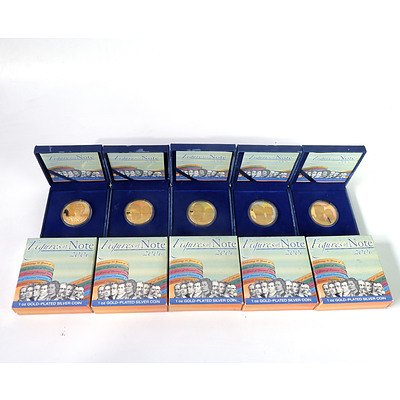 Five Perth Mint 2006 Figures of Note 1oz Gold Plated Silver Coins