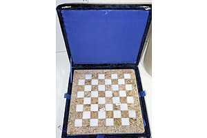 Marble and Onyx Boxed Chess Set