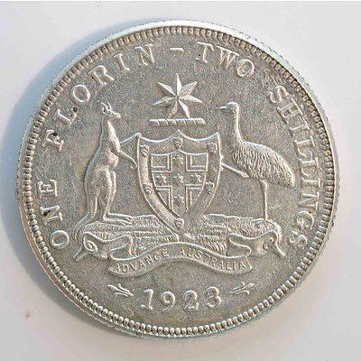 Australia: Sterling Silver Florin 1923