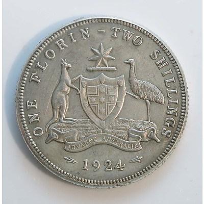 Australia: Sterling Silver Florin 1924