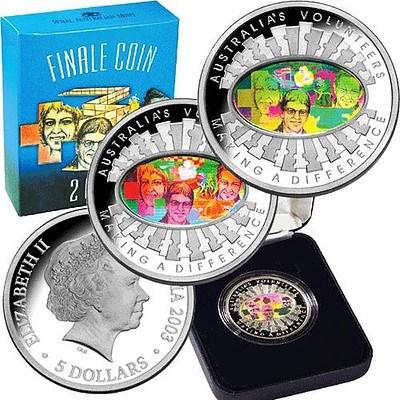 Australia $5 2003 Fine Silver Proof Coin - Hologram