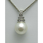 Sterling Silver Faux Pearl & Crystal Pendant