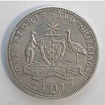 Australia: Sterling Silver Florin 1917