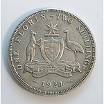 Australia: Sterling Silver Florin 1924