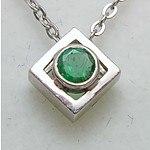 9ct White Gold Natural Emerald Pendant