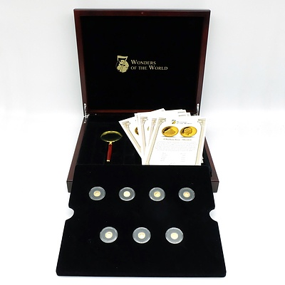 Maquarie Mint Seven Wonders of the World 2011, 7 .585 Gold Proof Coins Complete Set