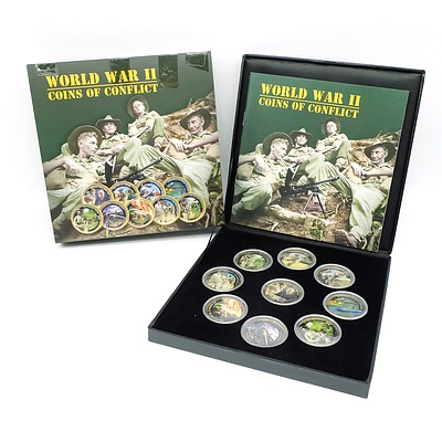 World War II Coins of Conflict Limited Edition, 9 Coin Complete Set