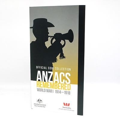 Royal Australian Mint Official Coin Collection Anzacs Remembered World War I 1914-1918, 14 Coin Complete Collection