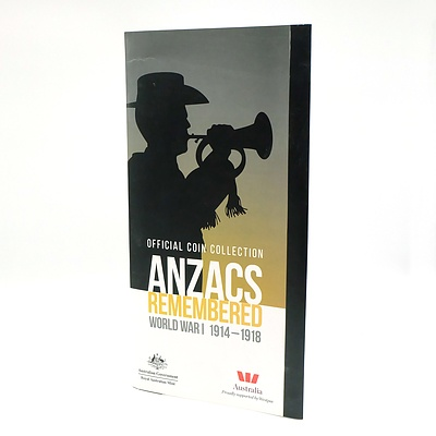 Royal Australian Mint Official Coin Collection Anzacs Remembered World War I 1914-1918, 14 Coin Collection