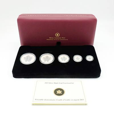 Royal Canadian Mint Limited Edition 2013 Silver Maple Leaf Fractional Set, 5 Coin Set, Complete