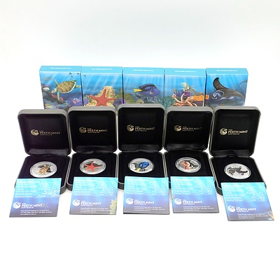 Perth Mint, Australian Sea Life II The Reef, 5 Silver Proof Coins in Complete Set