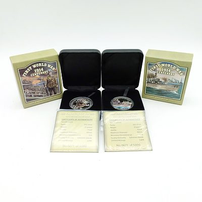 First World War 1914 Centenary HMAS Sydney, Embarking for War, Two 2014 Limited Edition .925 Sliver Proof Coins