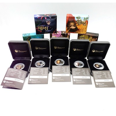 The Perth Mint, Australian Bush Babies II, 5 2012/2013 .999 Silver Proof Coins Complete Collection