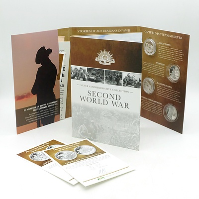 Maquarie Mint, Silver Commemorative Collection Second World War Volume I & II, 8 .333 Silver Prooflike Coins, Incomplete Set