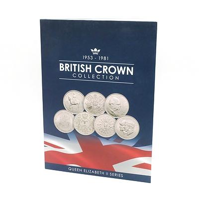 1953-1981 British Crown Collection Queen Elizabeth II Series, Seven Coin Complete Set