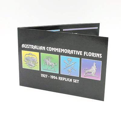 Australian Commemorative Florins 1927-1954 Replica Set, Four Coins in Album