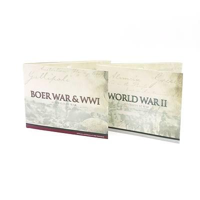 Royal Australian Mint, Offical Australian at War Program Boer War & WWI, World War II, 6 x 2015 Uncirculated 50c Coins, 6 x 2014 Uncirculated 50c Coins, Complete Sets