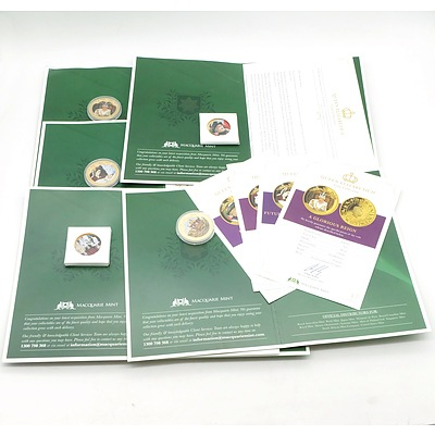 Maquarie Mint, 2016/2017 Queen Elizabeth II Coin Collection, 5 Gold Plate Proof Coins