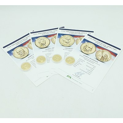 Maquarie Mint, USA Presidential Dollars Collection 2007/8/9/10, 12 Gold Plate Uncirculated Coins