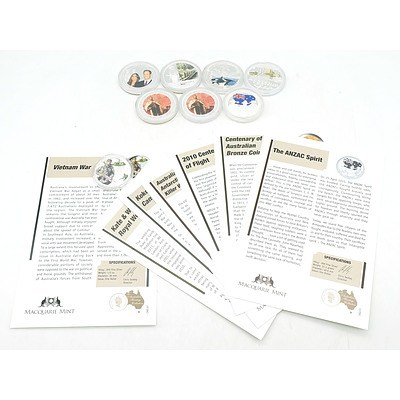 Macquarie Mint, The Australian Herritage Collection, 8 .999 Silver Coins, Incomplete Set
