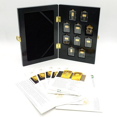 Macquarie Mint, Famous Landmarks of The World Masterpieces of Architecture 2014/15/16, Nine 1g .999 Gold Proof Coin Bars