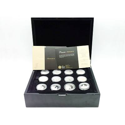 The Royal Mint Princess to Monarch Collection 2014/15, 12 .925 Silver Proof Coins and Collectors Coins Case