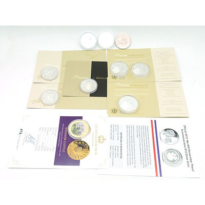Assorted Royal Coins Including Royal Mint Princess to Monarch 6 .999 Silver Proof Coins, 3 Silver Coins, We Will Remember Them 2012 Silver Coin and Queen Elizabeth II Windsor Castle Plate Coin