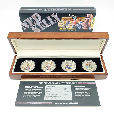 The Ned Kelly Story Limited Edition 2015 Silver Proof Coin Collection, Four Silver Proof Coins