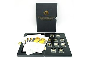 Maquarie Mint The Most Famous Landmarks of the World, 2014 Masterpieces of Architecture on Official Gold-Coin-Bars, 10 Proof Gold-Coin-Bar Complete Set