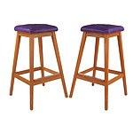 Four Australian Noblett Ash Stools with Purple Leather Upholstery
