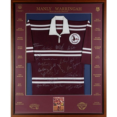 Framed and Signed Manly Warringah Sea Eagles Greats Jersey