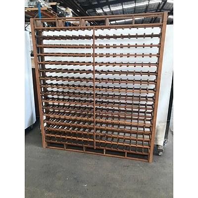 Large One Piece Wooden Wine Rack 180 x 204cm