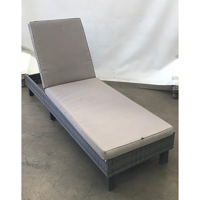 Pair of Grey Outdoor Recliner Sunbeds