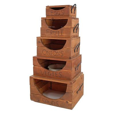 Charming Set of Upcycled Country Kitchen Style Food Storage Boxes with Horseshoe Handles
