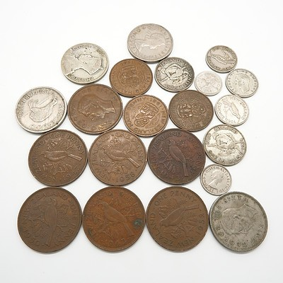 Group of New Zealand Coins, Including Pennies, Florin, Half Pennies, Sixpences and More