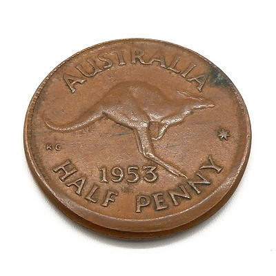 1953 Australia Half Penny MISTRIKE ERROR