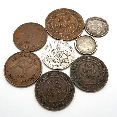 Small Group of Coins, Including 1919 Penny, 1915 Half Penny, 1917 Shilling and More