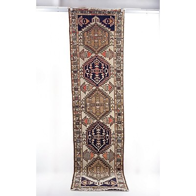Caucasian Hand Knotted Wool Pile Runner