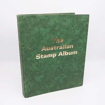 The Australian Stamp Album with Pre Decimal and Decimal Stamps Including 1/2 D Green Kangaroo and 1D Red Kangaroo and More