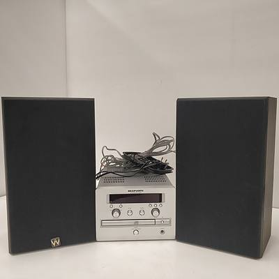 Marantz CR401 CD Receiver & Lot Of 2 Wharfdale Loudspeakers