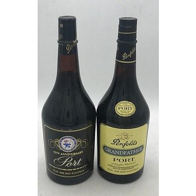 Bottle of Penfolds 1986 Royal Australian Navy 75th Anniversary Port & Bottle of Penfolds N.V. Grandfather Port
