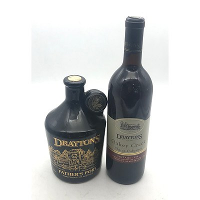 Bottle of Drayton's 1989 Oakey Creek Shiraz-Cabernet & Crock of Drayton's N.V. Father's Port
