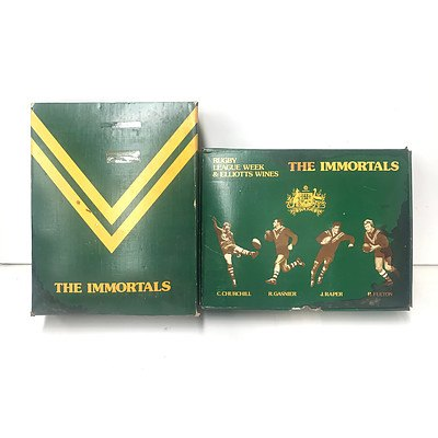 Box of Elliots Wines & Rugby League Week 1977 The Immortals Vintage Ports (1 of 4 Bottles Missing, Box Damaged)