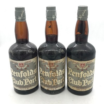 Lot of 3x Penfolds Vintage 1956 Five Star Club Port