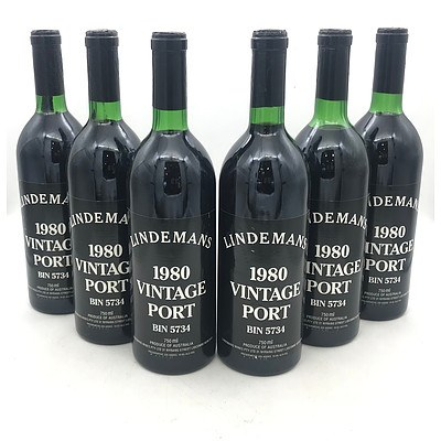 Case of 6x Lindemans 1980 Vintage Port Bin 5734