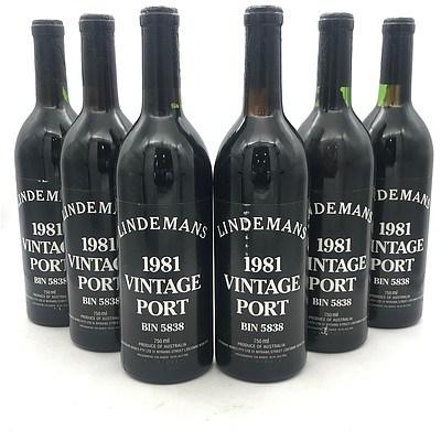 Case of 6x Lindemans 1981 Vintage Port Bin 5838