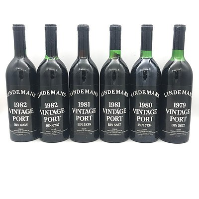 Case of 6x Lindemans 1979-1982 Assorted Vintage Port's