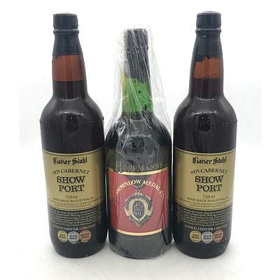 Lot of 2x Bottles of Kaiser Stuhl 1975 Cabernet Show Port & Hoffmans '1980 Brownlow Medal' 1979 Vintage Port