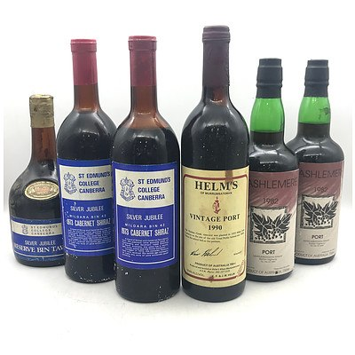 Case of 6x Assorted Vintage Canberra Ports & Wines