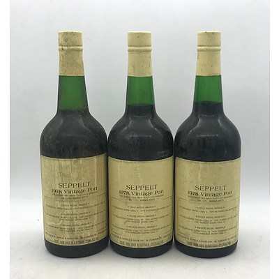 Lot of 3x Seppelt 1978 Vintage Port GR 71/51 ~ 750mL